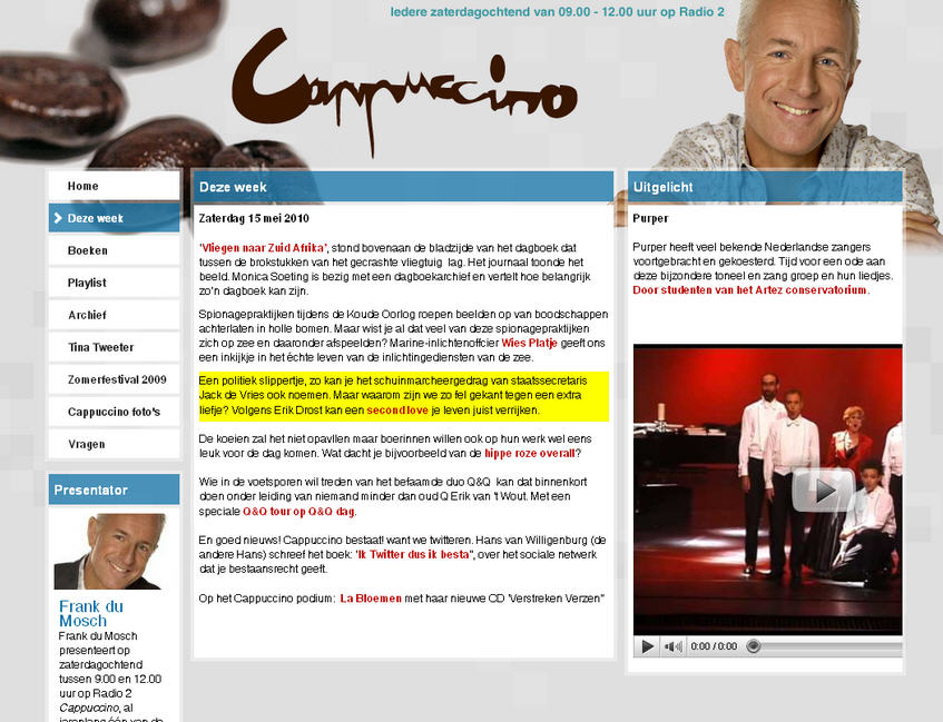 Capucino Radio 2 interview Mei 2010